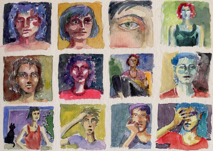 a grid of 15 tiny face doodle done in watercolor