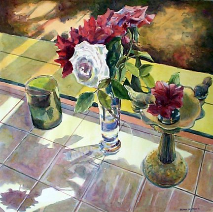 Watercolor painting of roses on a sunny windowsill by Belinda Del Pesco