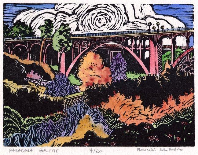 The old bridge in Pasadena California, as a linocut print