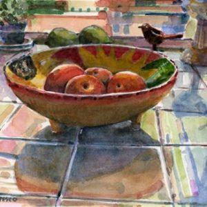 watercolor still life of peaches