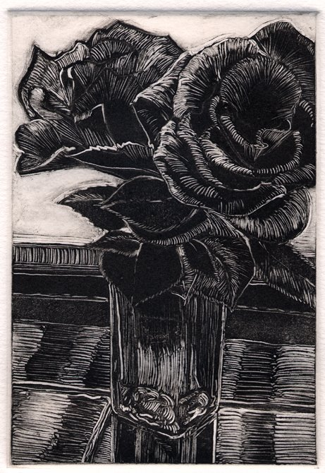 a dark field monotype of two roses in a bud vase