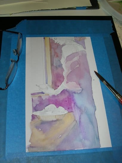 the beginnings of a figure painting in watercolor by belinda del pesco