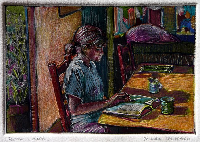 a monotype of a young girl sitting near a window at a table reading a book