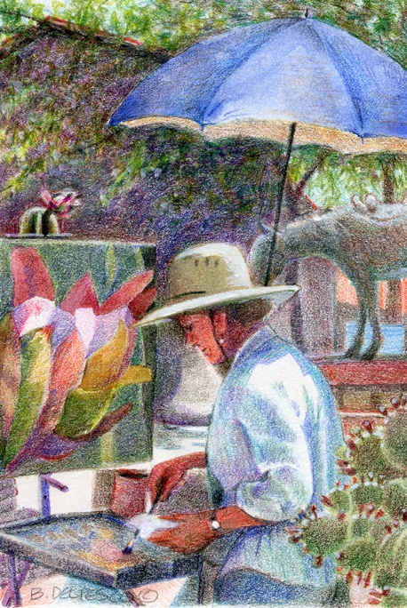 An artist painting in the San Juan Capistrano mission