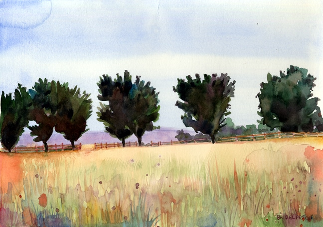a watercolor painting of a row of trees in a golden grassy field