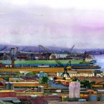 A watercolor painting of the Nass of shipyard in San Diego, California