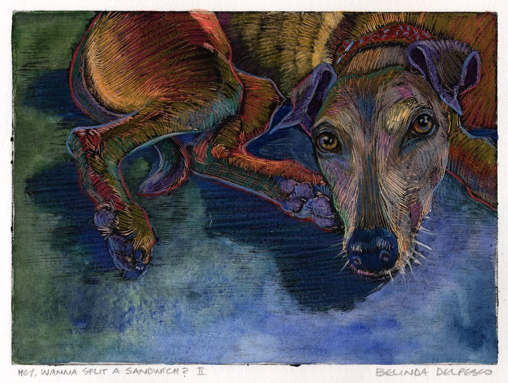 Dark Field Monotype portrait of a greyhound, looking directly at the viewer while laying on the floor, wearing a casual but imploring expression.