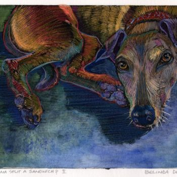 a monotype of a greyhound