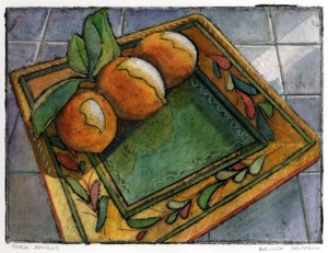 a collagraph print of three lemons on a plate, painted with watercolor