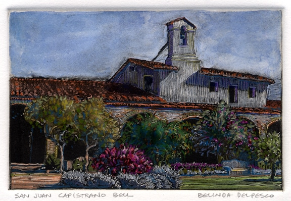 dark-field-monotype of the mission bell at San Juan Capistrano