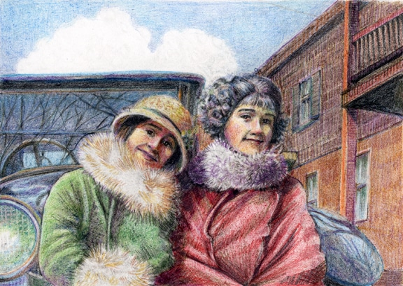 a monotype ghost print with colored pencil added showing two women sitting on the bumper of a model T ford wearing fur collars from the early 1920's