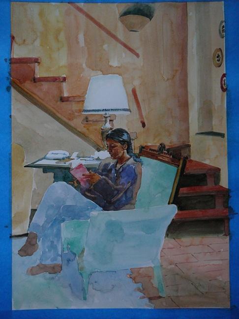 watercolor glazing in process