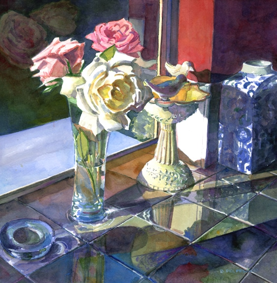 floral watercolor painting of pink and white roses in a vase in front of a window on reflective tiles by Belinda Del Pesco