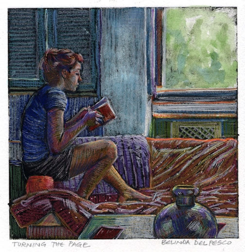 a monotype with watercolor and colored pencil of a woman iseated in profile reading a book from the arm of a couch in front of a window