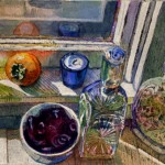 a monotype ghost print with watercolor of ornate glass bottles, a bowl of dried rose petals and a persimmon on a sunny window sill