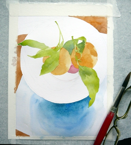 a watercolor in the early stages showing the outline of a bowl and the beginnings of two clementines in it
