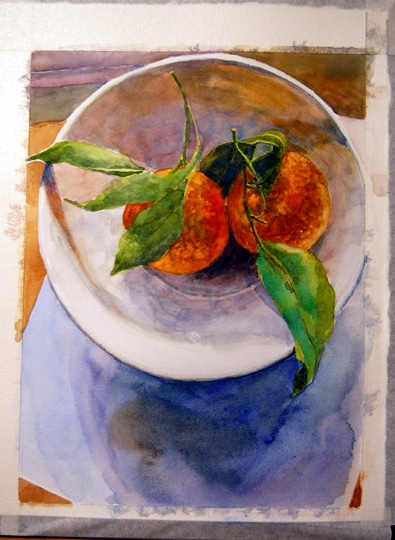 a watercolor of a still life in process, featuring a white bowl with two clementines pulled from a tree with their leaves and stems pointing in opposing directions
