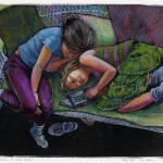 a monotype of two sister on a chaise reading a book together