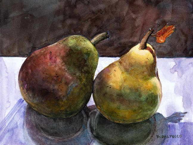 a watercolor of pears leaning to the right as though they're swaying to music - how to make more art