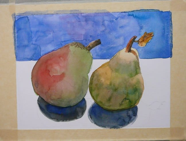 how to make more art - two pears, in watercolor, partially painted - to show the process