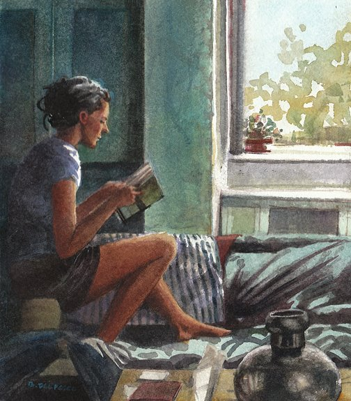 A small watercolor painting of a girl seated on the arm of a couch in front of a window reading a book