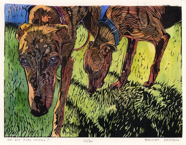 linocut of greyhound dogs