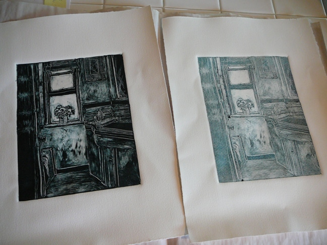 monotype ghost print, next to a dark field monotype of a bathroom interior with an open window