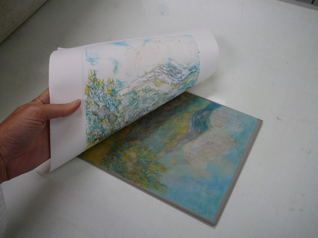 a light field monotype from drafting film and water soluble crayons by Belinda Del Pesco