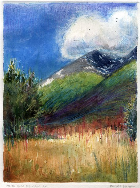 landscape monotype print of indian house mountain in alaska
