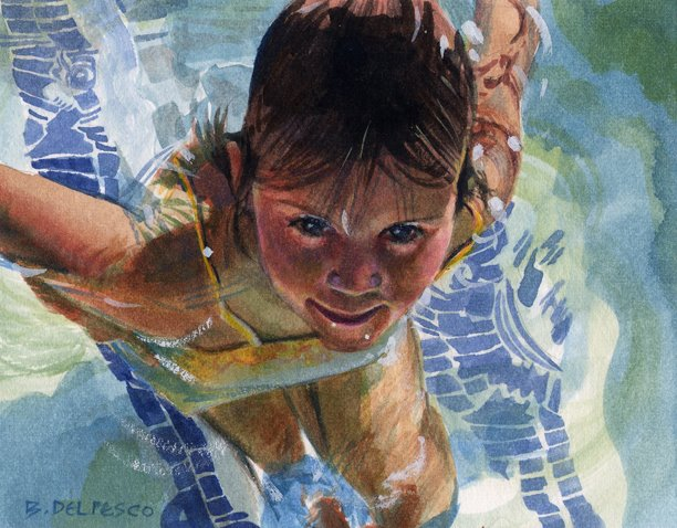 A little girl in a swimming pool looking up into a shadow of a figure
