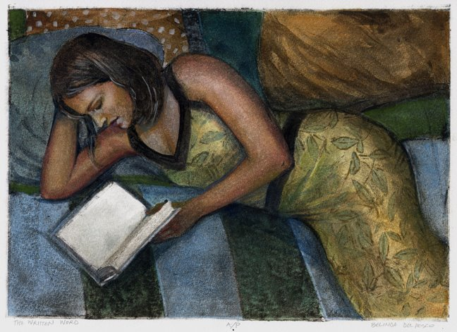 a collagraph print of a woman reading a book in bed
