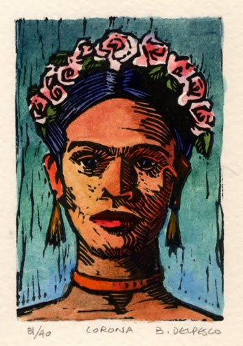 linocut print with watercolor