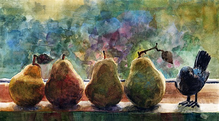 A watercolor painting of pears lined up on a windowsill, with a bird figurine standing at the end of the row