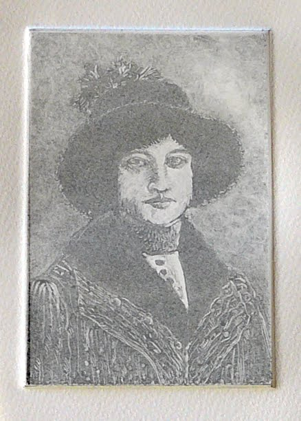 a ghost print of a vintage portrait of a young woman with a heavy coat and a feather in the band of a broad rimmed hat