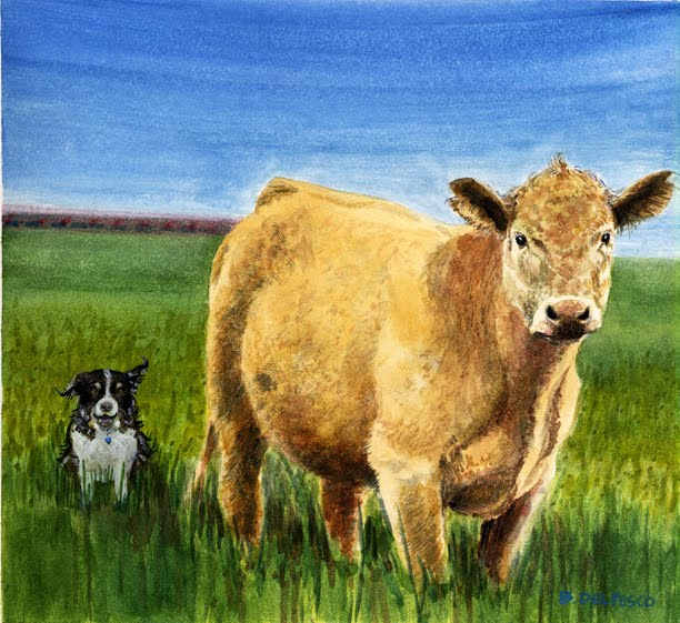painting cows in watercolor