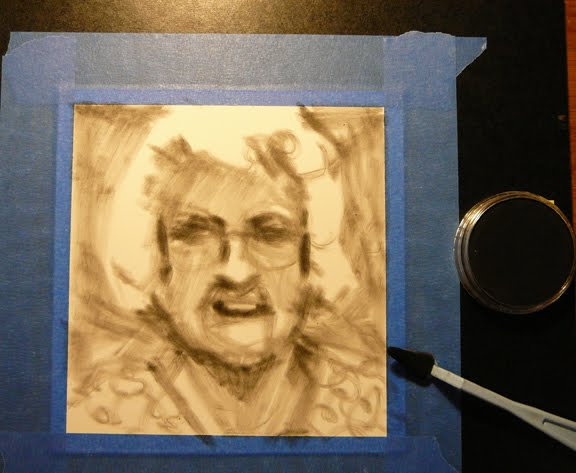 the beginnings of a charcoal portrait sketch of an elderly woman