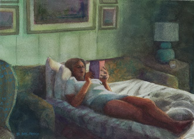 A watercolor painting of a young woman laying in bed reading a book