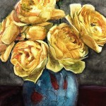 a watercolor painting of flowers - yellow roses in a blue vase