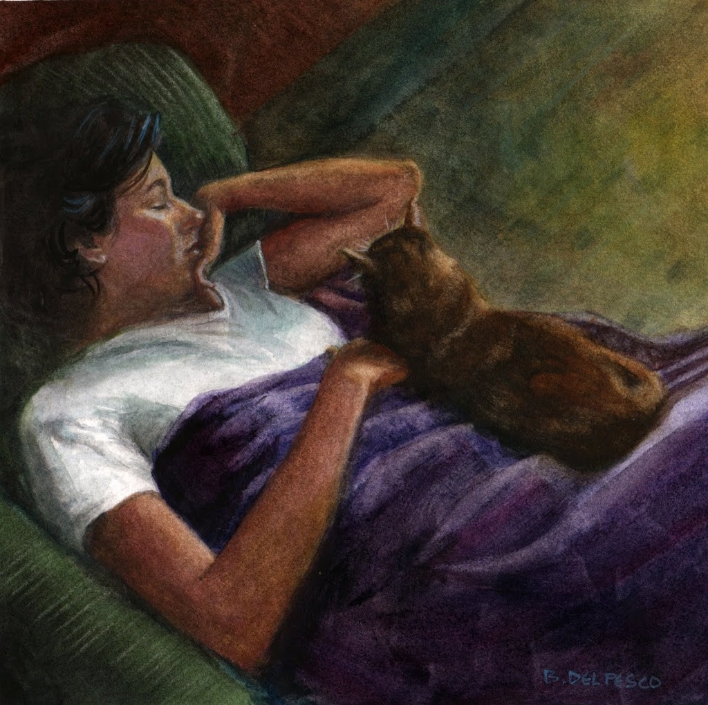a watercolor of a woman napping on a couch with a cat