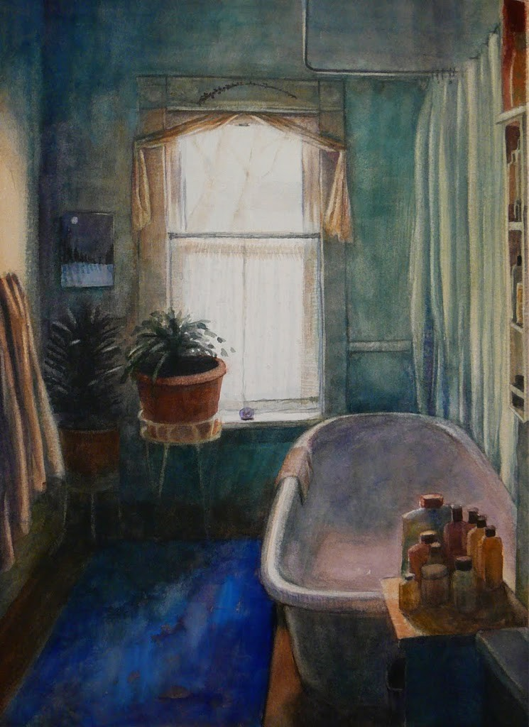 watercolor painting of a bathtub against a window