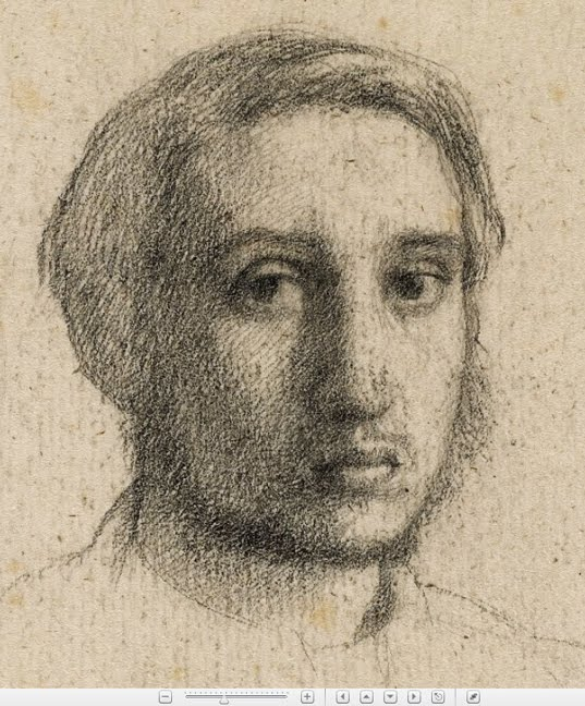 edgar degas self portrait in black chalk when he was a young art student