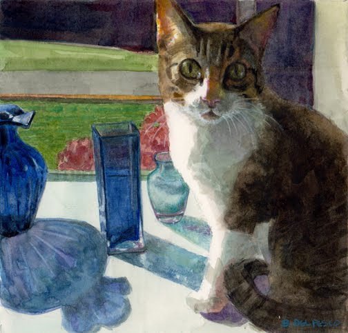 watercolor of a cat on a window sill near a bunch of empty flower vases