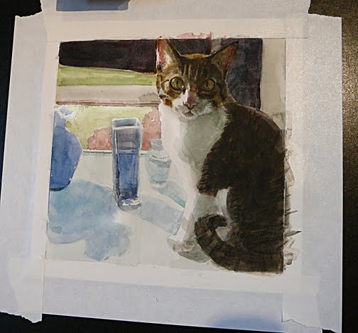 a watercolor portrait in process of a striped tabby cat on a window sill
