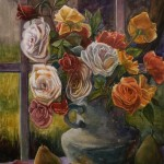 a watercolor of white, yellow and orange roses in a pewter colored milk pitcher in front of a window
