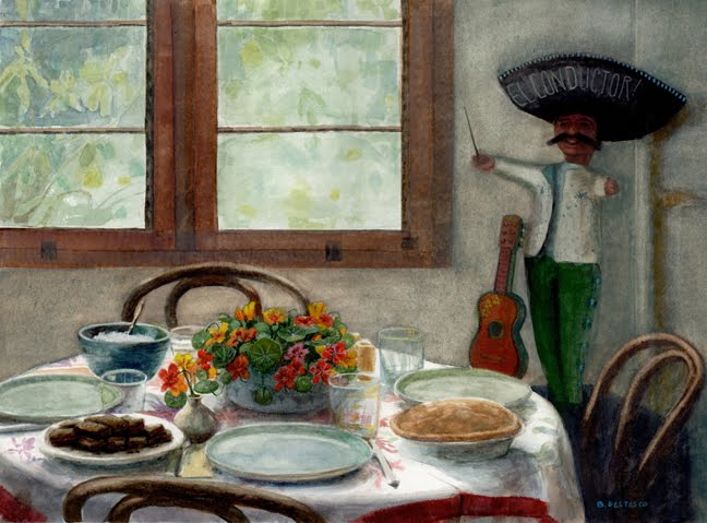 a still life watercolor of a dining table set with pies, brownies and nasturtiums and a paper mache figure of a mexican conductor with a guitar nearby