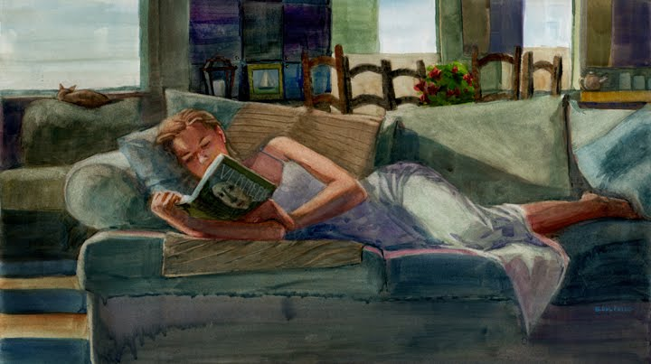reading good art books can help shift mindset in artists. this is a watercolor painting of a woman laying on a couch reading a book on vermeer.
