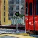 San Diego trolley car near little italy in watercolor