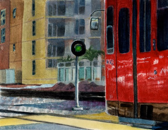 San Diego trolley car near little italy in watercolor