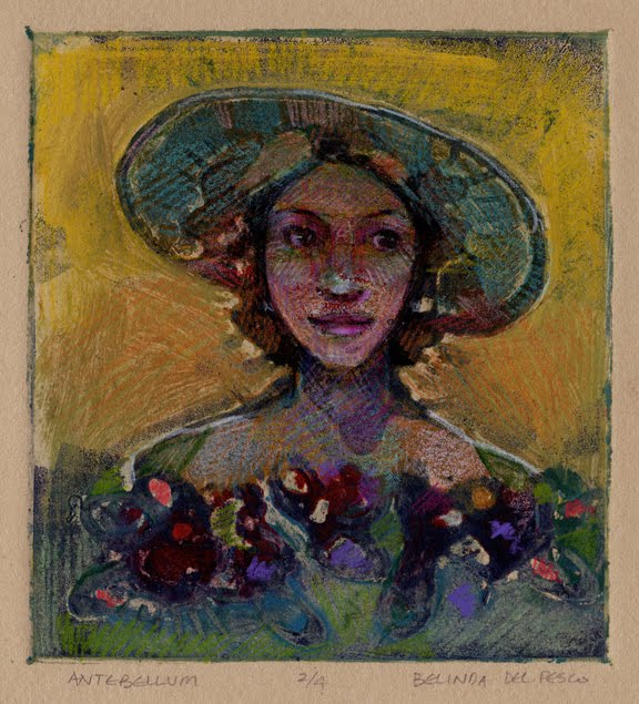 glue collagraph print of a woman in a broad rimmed hat