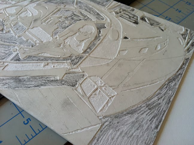 making a collagraph from mat board, step by step